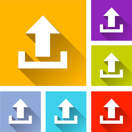 uploading: illustration of flat design set icons for upload