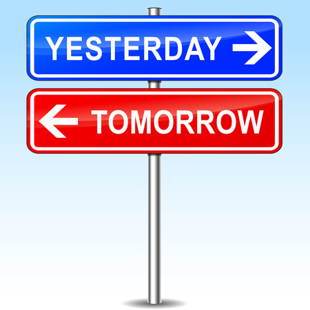 yesterday: illustration of red and blue signs for yesterday and tomorrow