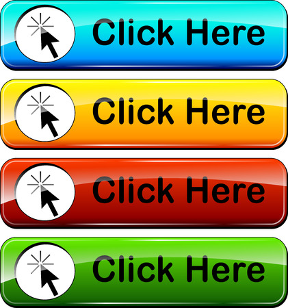 click here: illustration of click here web buttons design set