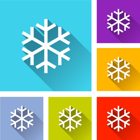illustration of flat design set icons for snow Vector