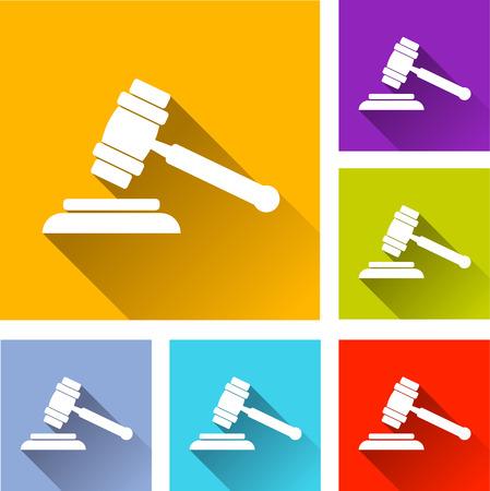 justice hammer: illustration of flat design set icons for justice hammer