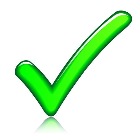 green check mark: illustration of green check mark on white background Illustration