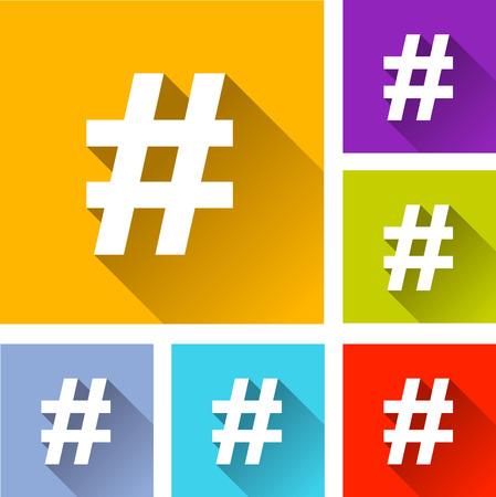 illustration of flat design set icons for hashtag Vektorové ilustrace