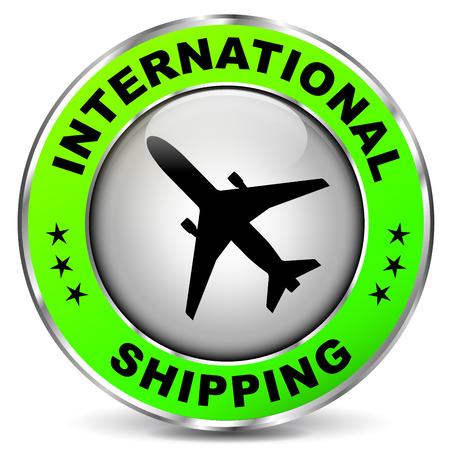 international shipping: illustration of green circle icon for international shipping