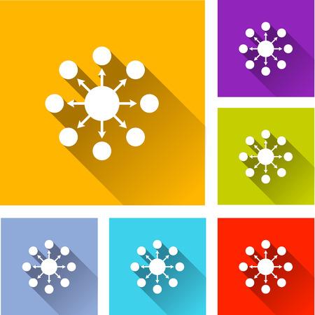 social network: illustration of flat design set icons for network Illustration