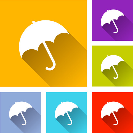 illustration of flat design set icons for umbrella Vector