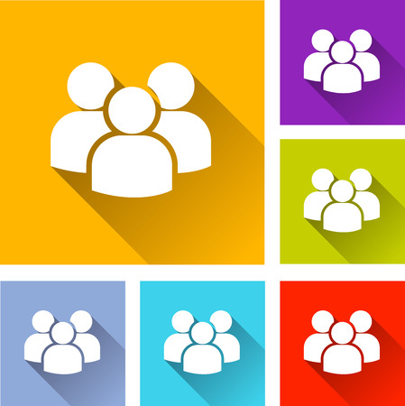 peoples: illustration of flat design set icons for peoples