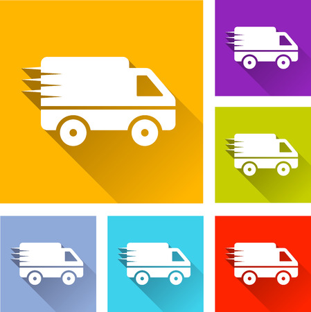 illustration of flat design set icons for van