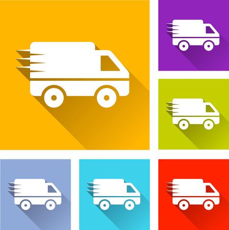 illustration of flat design set icons for van