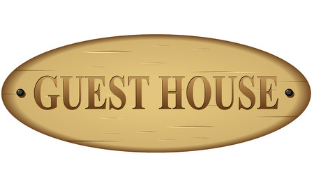 illustration of wood guest house text sign Illustration