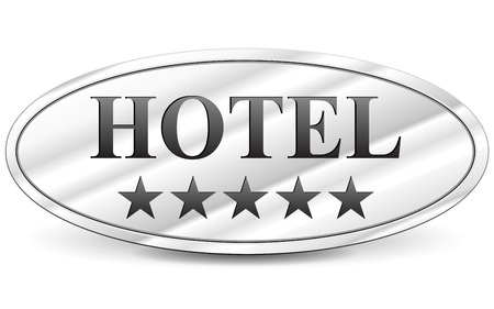 five stars: illustration of hotel five stars metal sign Illustration