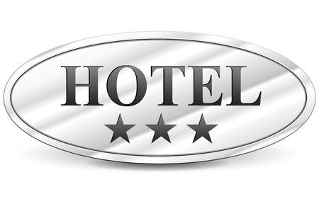 metal sign: illustration of hotel three stars metal sign