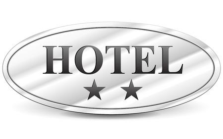 illustration of hotel two stars metal sign Illustration