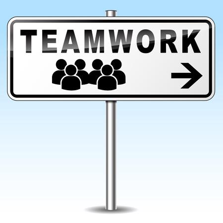 join our team: illustration of teamwork sign on sky background