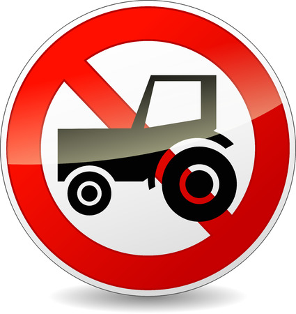 tractor sign: illustration of no tractor sign on white background