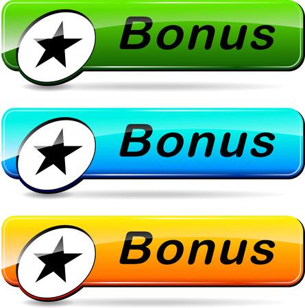 illustration of three web buttons for bonus Illustration