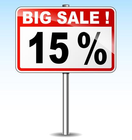fifteen: illustration of fifteen percent sale road sign
