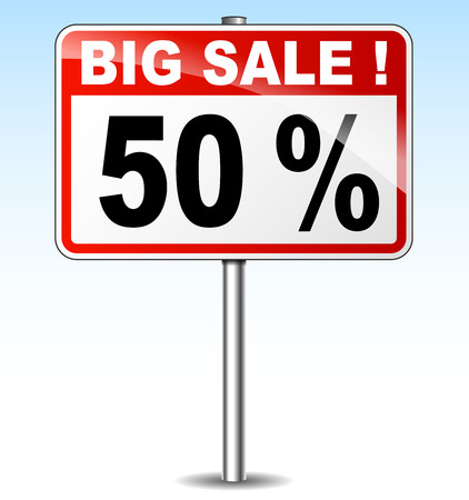fifty: illustration of fifty percent sale road sign Illustration