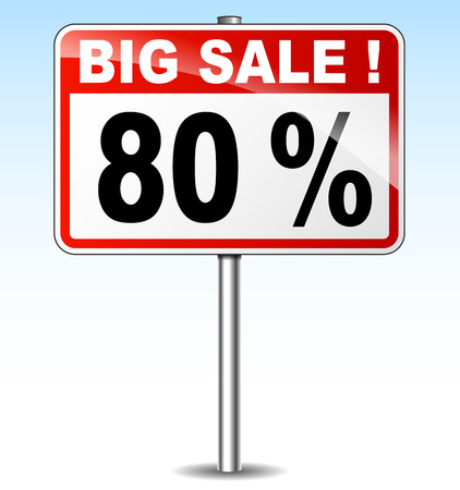 eighty: illustration of eighty percent sale road sign