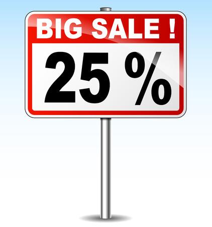 twenty five: illustration of twenty five percent sale road sign Illustration