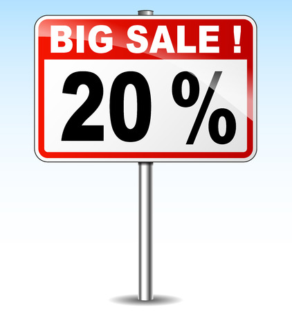 twenty: illustration of twenty percent sale road sign