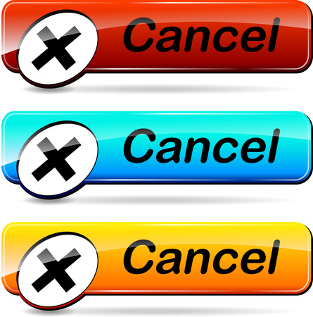 illustration of three web buttons for cancel