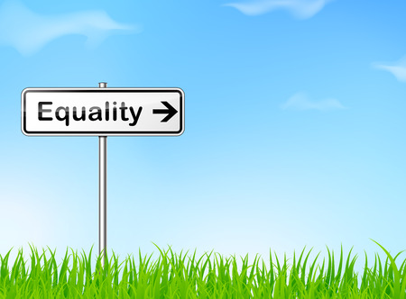 equal opportunity: illustration of equality sign on nature background