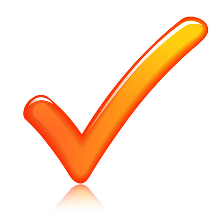 illustration of orange check mark design icon