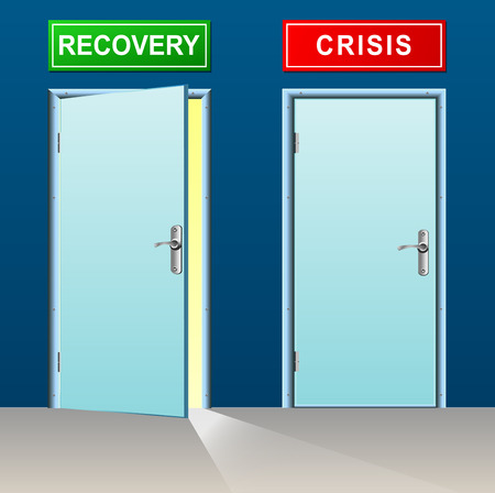 economic recovery: illustration of recovery and crisis doors concept