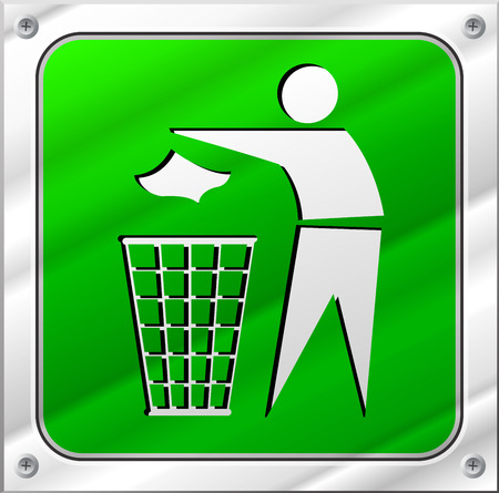 metal recycling: illustration of recycling icon on metal sign