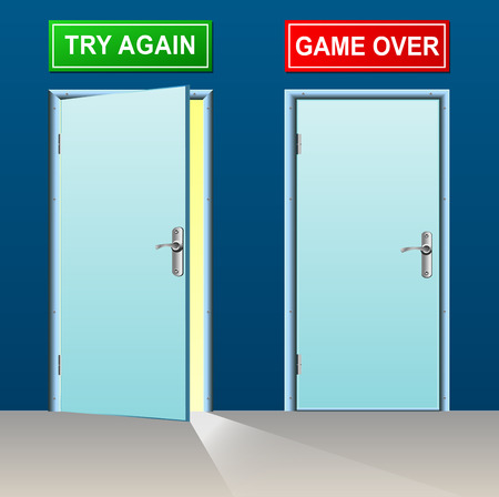 to decide: illustration of retry and game over doors concept