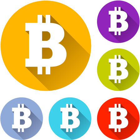 red sign: vector illustration of six colorful bitcoin icons