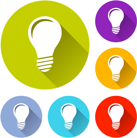 light blue: vector illustration of six colorful light bulb icons