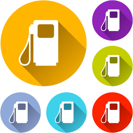 fuel pump: vector illustration of six colorful fuel pump icons