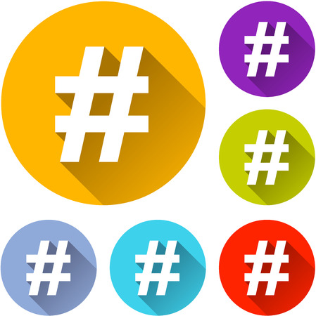 hash: vector illustration of six colorful hashtag icons