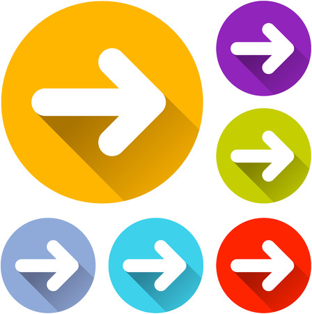vector illustration of six colorful next icons Illustration