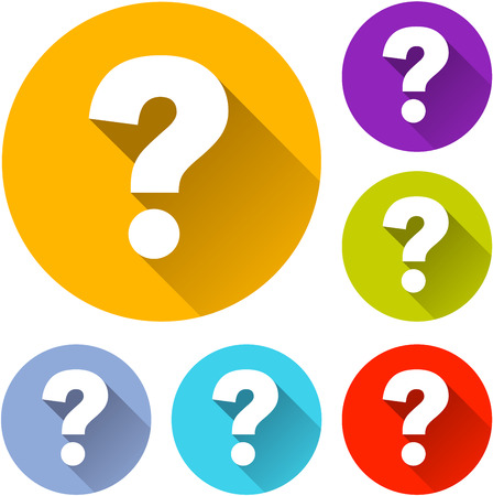 questions: vector illustration of six colorful question icons