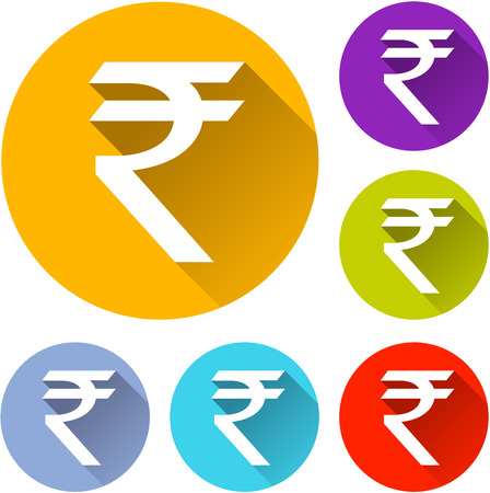 rupee: vector illustration of six colorful rupee icons