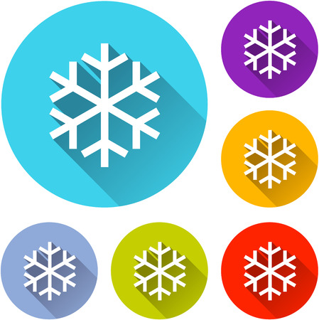 snow: vector illustration of six colorful snow icons Illustration