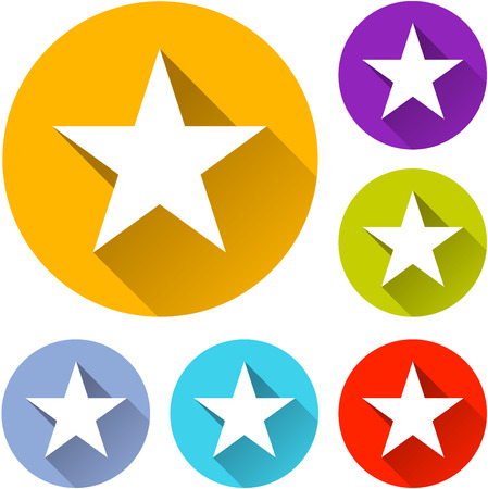 vector illustration of six colorful star icons