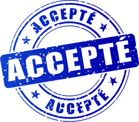 accepted: illustration of accepted blue stamp (french translation)