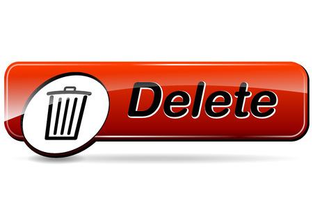 delete: illustration of delete red web design button