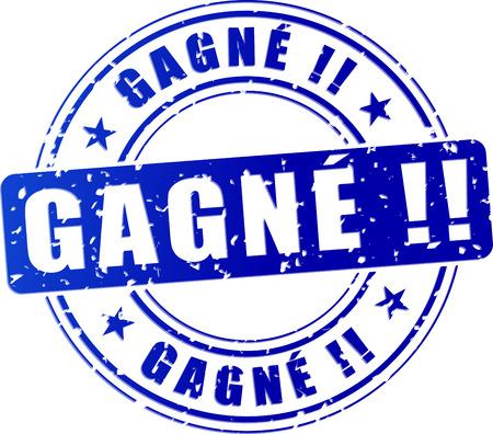 illustration de victoire timbre bleu (traduction française) Vecteurs