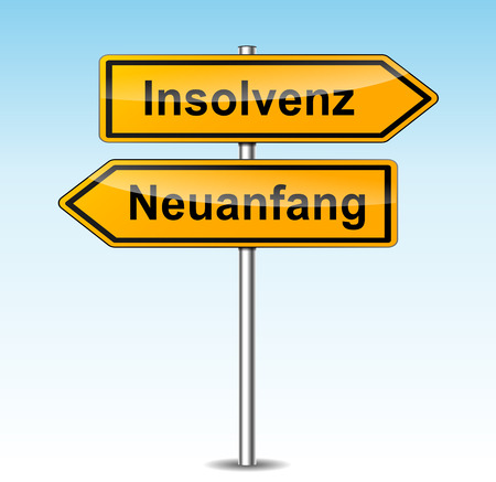 illustration of insolvency and new beginning signs (german translation)