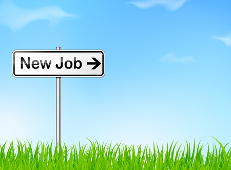 new opportunity: illustration of new job direction sign on nature background
