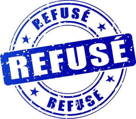 refused: illustration of refused blue stamp (french translation)