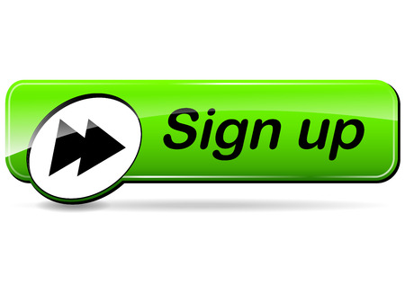 signup: illustration of sign up green web design button