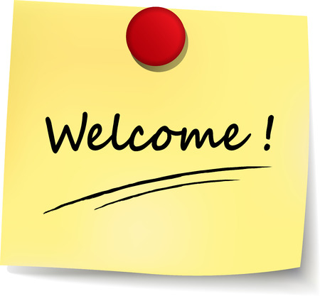 illustration of welcome yellow note on white background