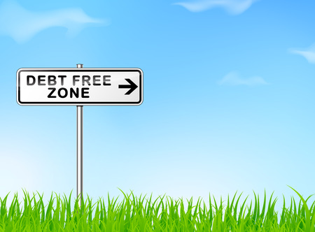 consolidation: illustration of debt free zone sign on nature background