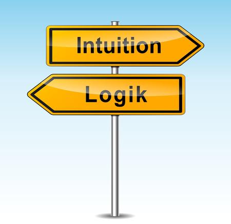 logica: ilustración de las señales de la intuición y la lógica (alemán traducción) Vectores